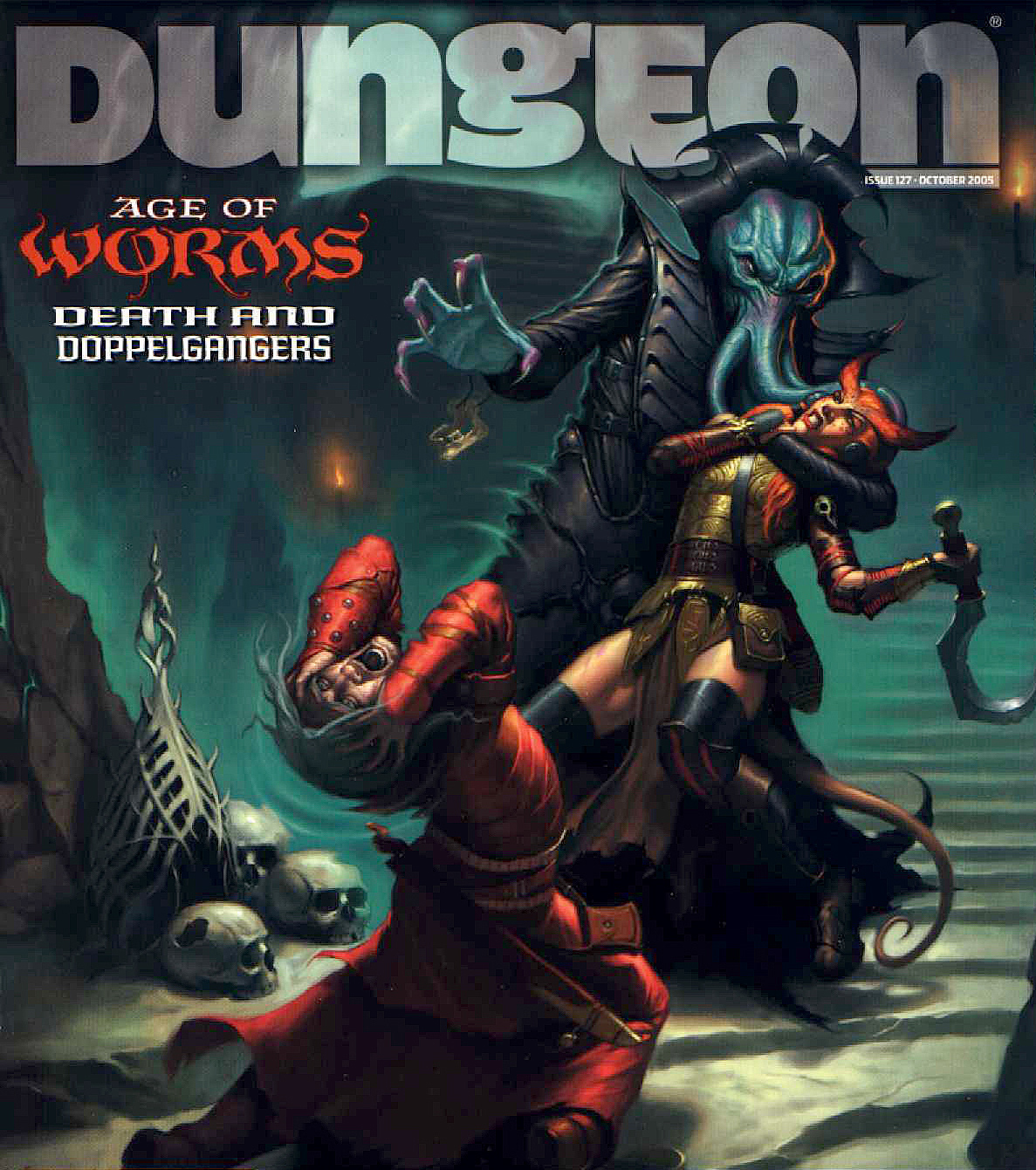 tiefling age of worms Tiefling e Mind Flayer in copertina - by James Ryman Dungeon Magazine #127 (2005-10) © Wizards of the Coast & Hasbro