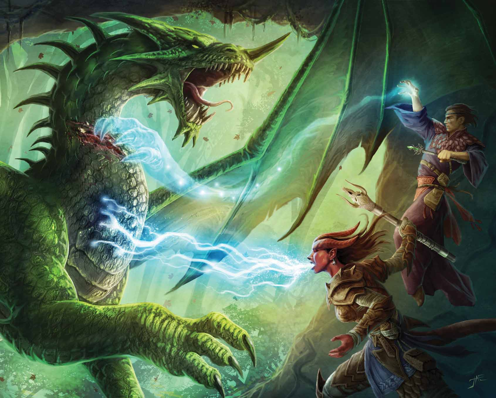green dragon Tiefling contro un drago verde - by Jason A. Engle Dragon Magazine #369 (2008-11) © Wizards of the Coast & Hasbro