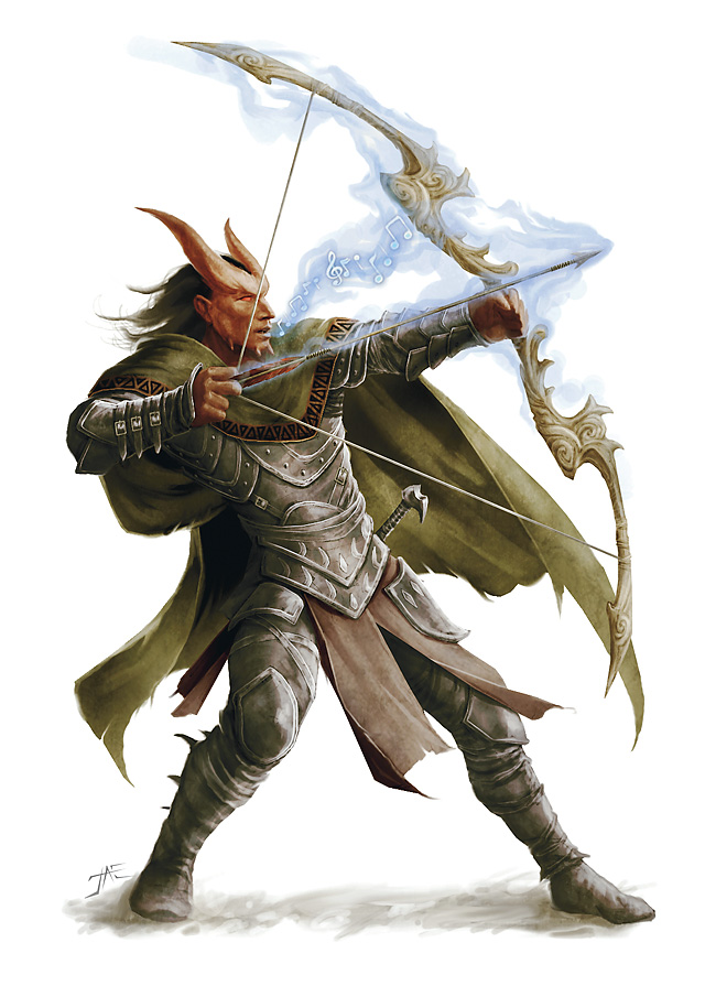 planetouched Tiefling con un potente (!) arco fischiettante - by Jason A. Engle Arcane Power (2009-04) © Wizards of the Coast & Hasbro