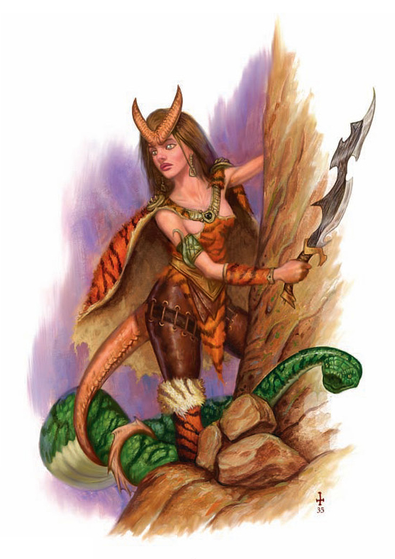 {$tags} Tiefling ranger e compagno serpente - by Jim Pavelec Martial Power (2008-11) © Wizards of the Coast & Hasbro