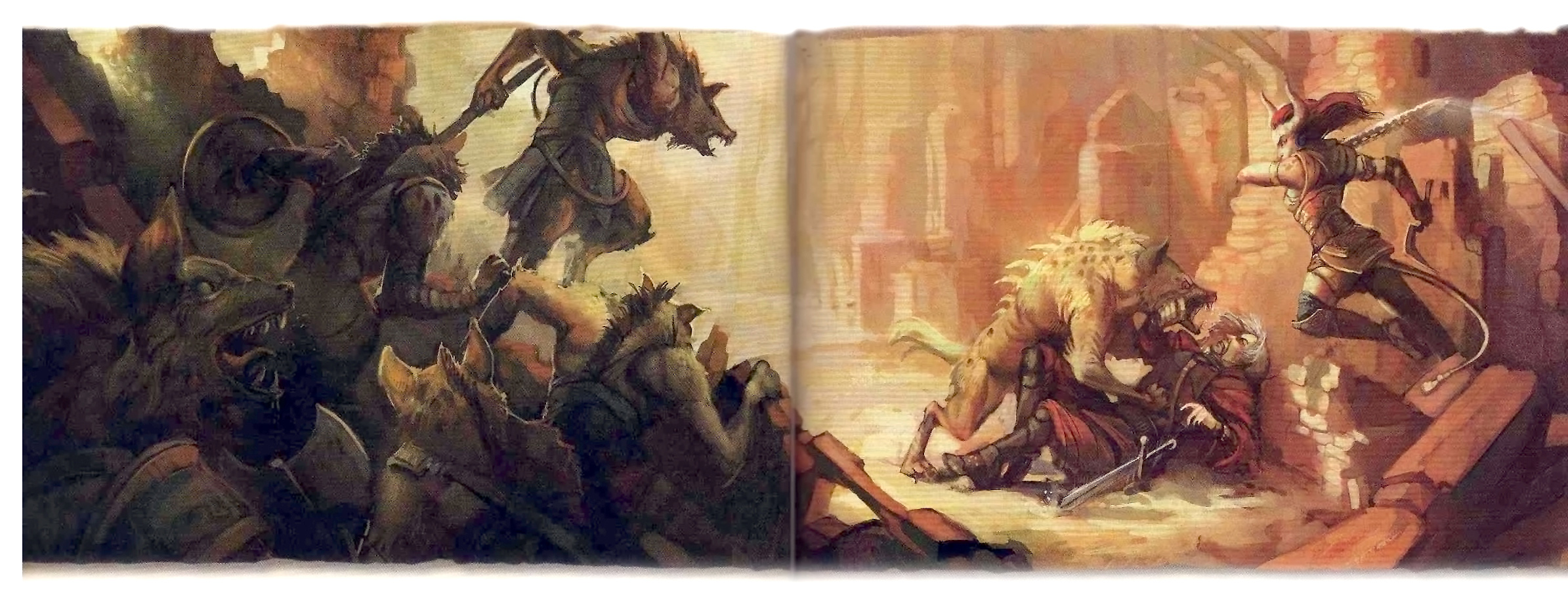 planetouched Tiefling contro iene e gnoll - by Julie Dillon Dungeon Magazine #145 (2007-04) © Wizards of the Coast & Hasbro