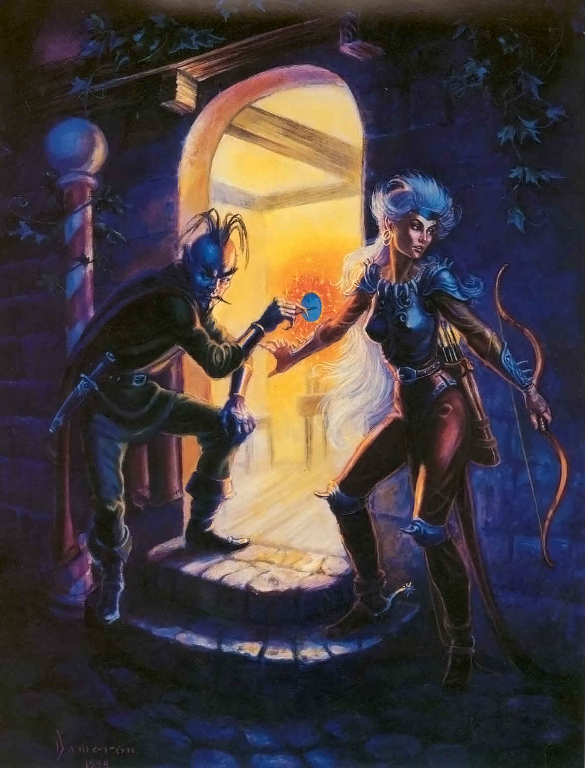 portal Tiefling usa una chiave planare - by Ned Dameron TSR - In The Abyss (1994-11) © Wizards of the Coast & Hasbro