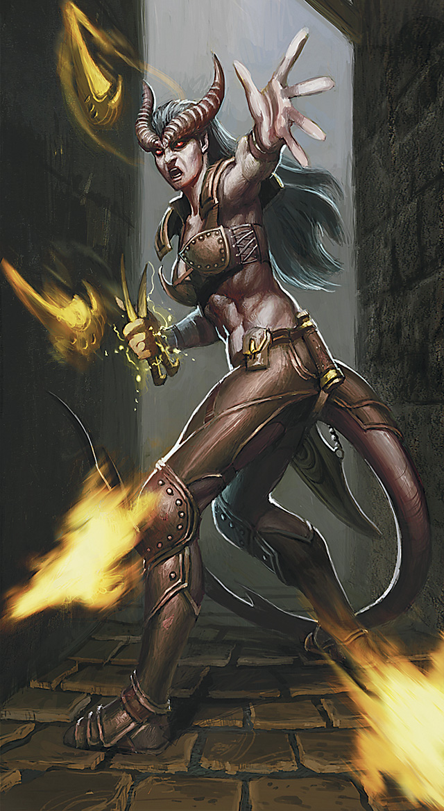 thief Tiefling - by Ron Lemen Player's Handbook Races, Tieflings (2010-06) © Wizards of the Coast & Hasbro