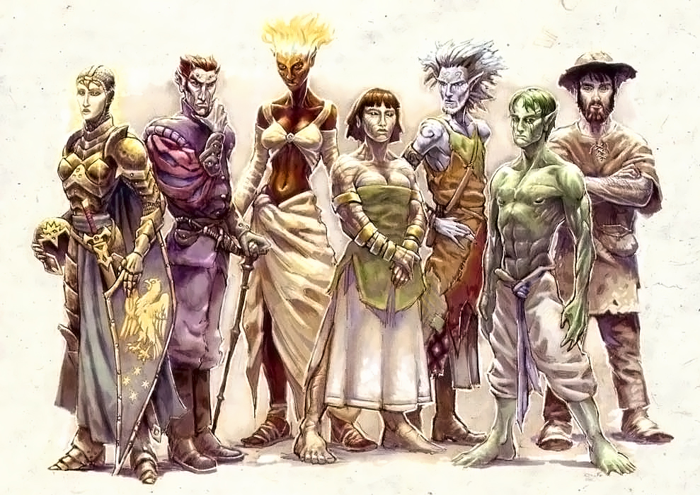 {$tags} Razze di Faerûn: aasimar, tiefling, genasi del fuoco, della terra, dell'aria, dell'acqua - by Sam Wood Forgotten Realms Campaign Setting (2001-06) © Wizards of the Coast & Hasbro