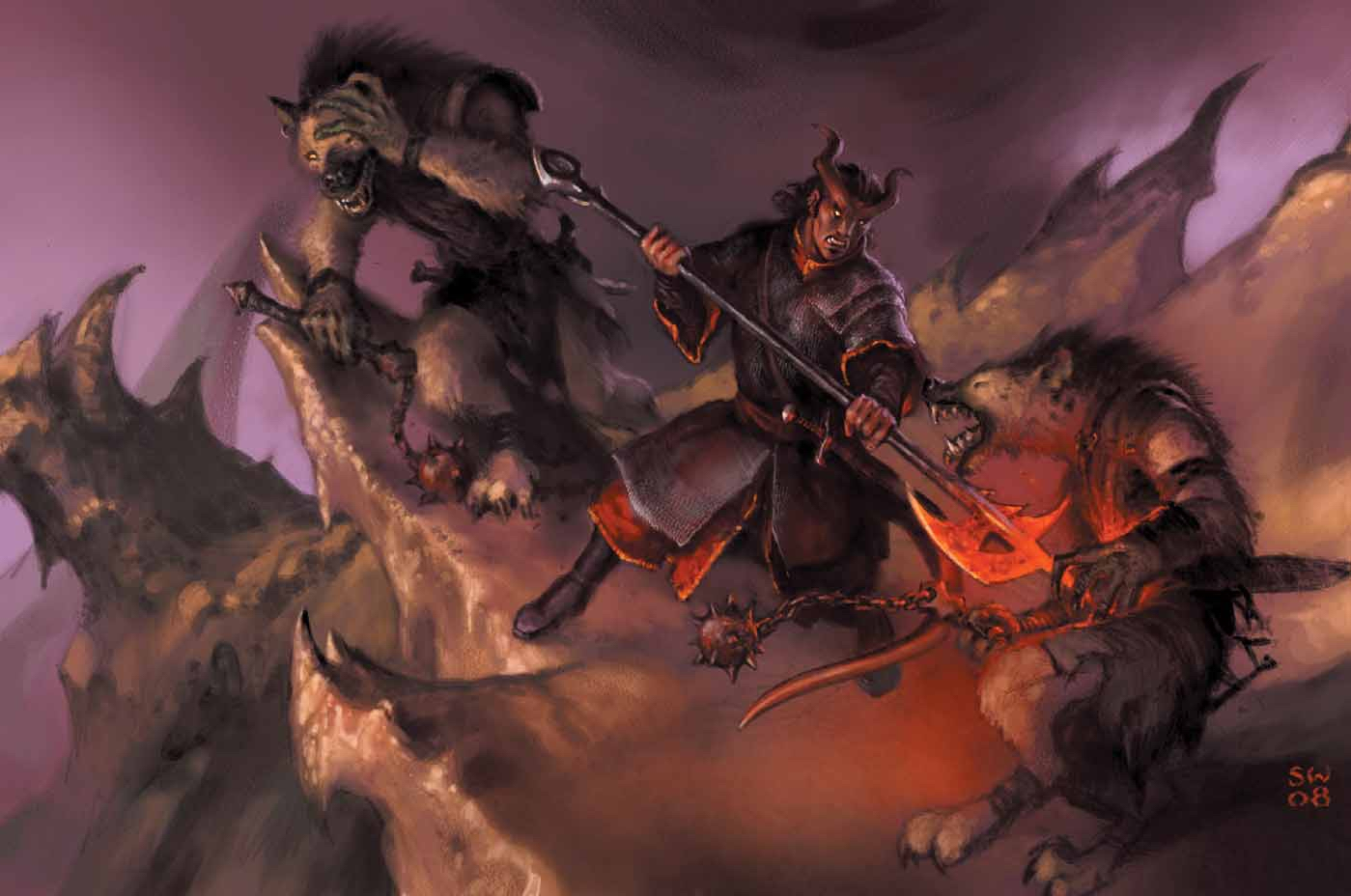 {$tags} Tiefling e gnoll - by Sam Wood Dragon Magazine #369 (2008-11) © Wizards of the Coast & Hasbro