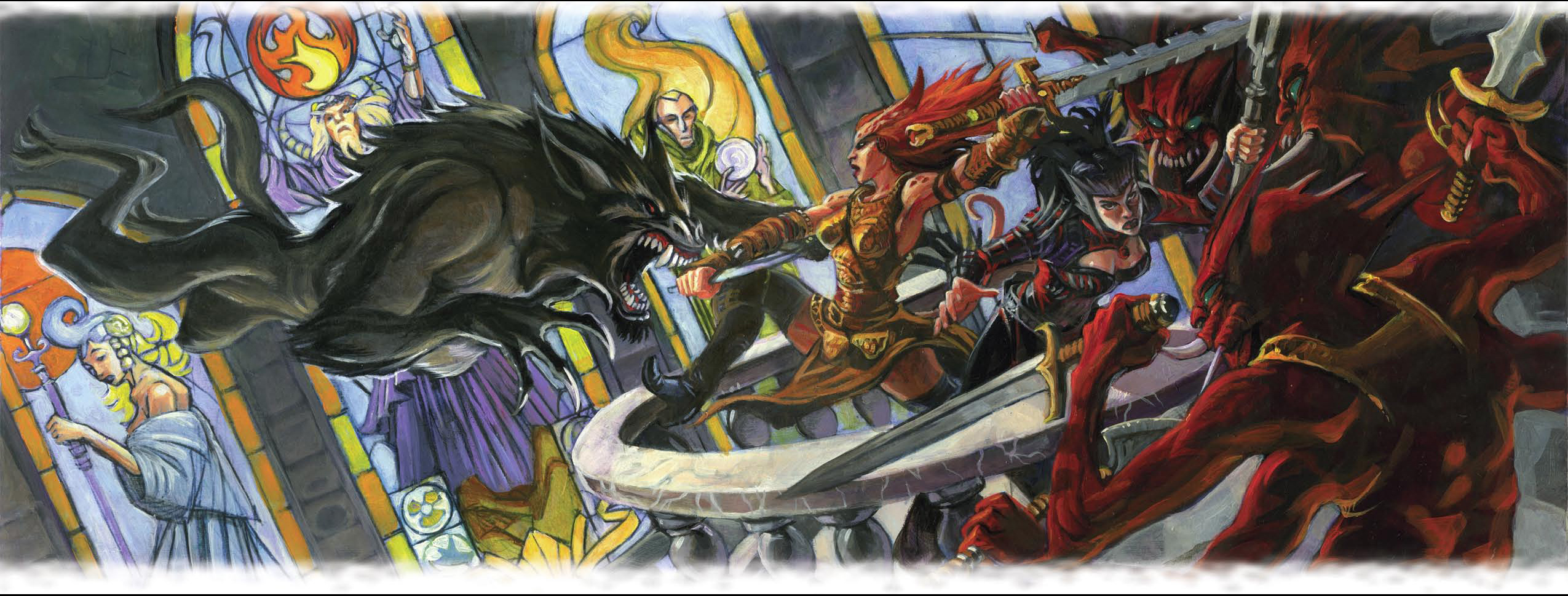 "{$tags} Tiefling barghest e xill, incontri ""accademici"" - by Steve Ellis Dungeon Magazine #140 (2006-11) © Wizards of the Coast & Hasbro"