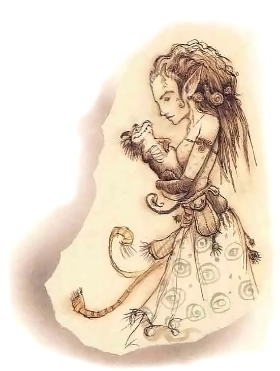 {$tags} Zena, tiefling factotum dei godsmen - by Tony Diterlizzi TSR - Factol's Manifesto (1995-06) © Wizards of the Coast & Hasbro