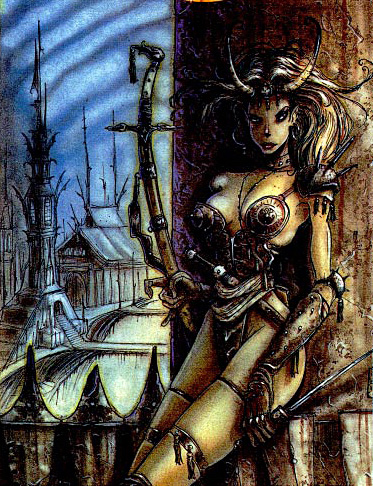 "{$tags} Tiefling - by Tony Diterlizzi Dragon Magazine #203, ""//The Plane Truth part I: codifying Sigil//"" (1994) © Wizards of the Coast & Hasbro"