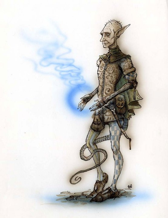 {$tags} Tiefling mago - by Tony Diterlizzi TSR - Planes of Conflict (1995-11) © Wizards of the Coast & Hasbro