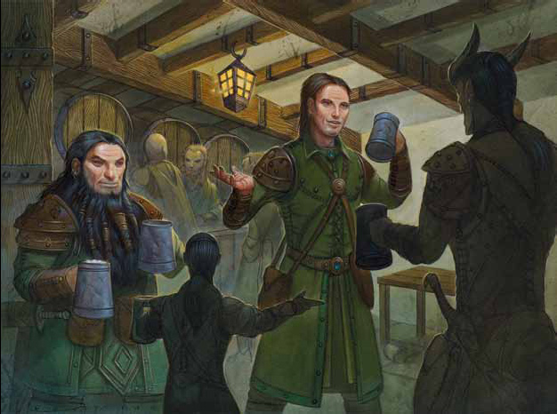 dwarf Tiefling, nano e halfling in taverna - by Wayne England Dngeon Magazine #190 (2011-05) © Wizards of the Coast & Hasbro