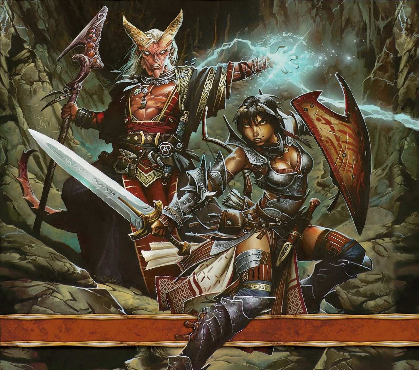 {$tags} Tiefling in copertina - by Wayne Reynolds Dungeon Delve (2009-01) © Wizards of the Coast & Hasbro
