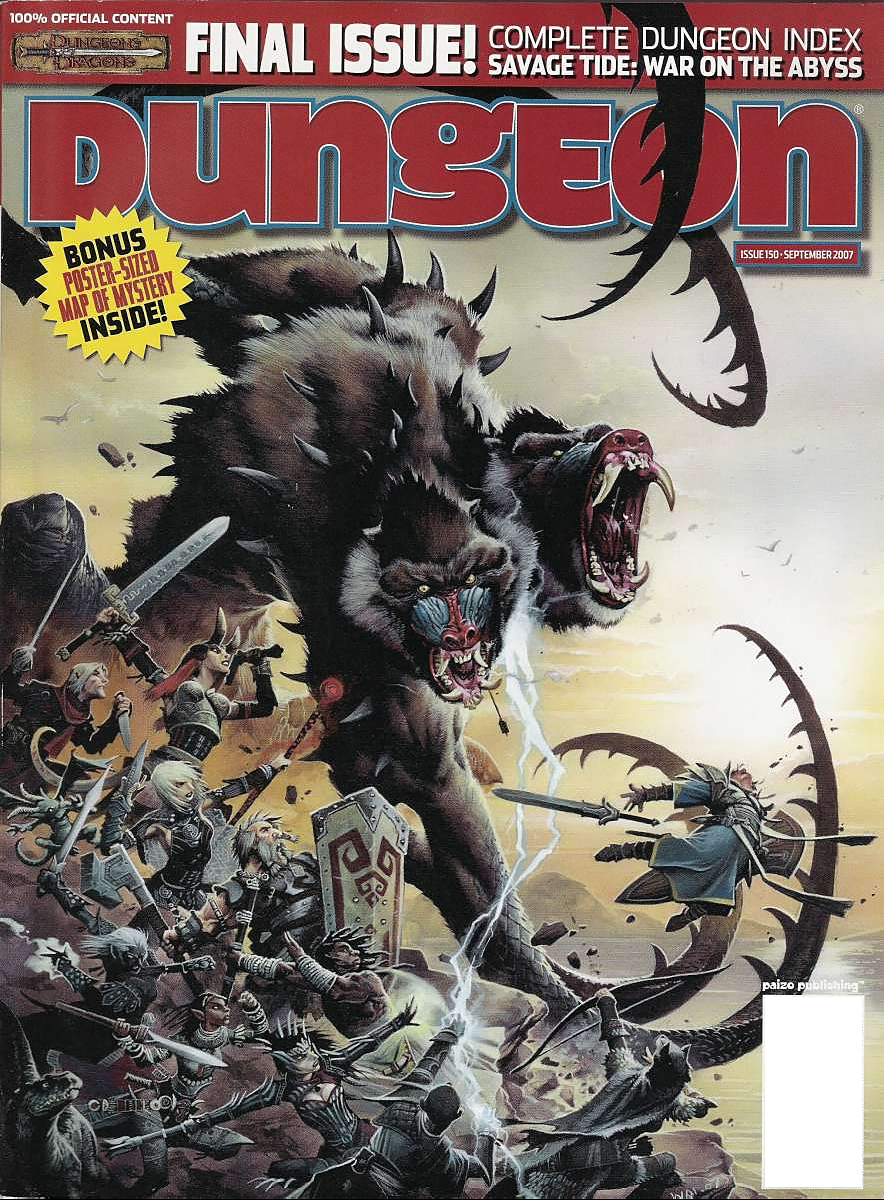 dwarf Tiefling, drow, nano e gli altri contro l'avatar di Demogorgon - by Wayne Reynolds Dungeon Magazine #150 (2007-09) © Wizards of the Coast & Hasbro