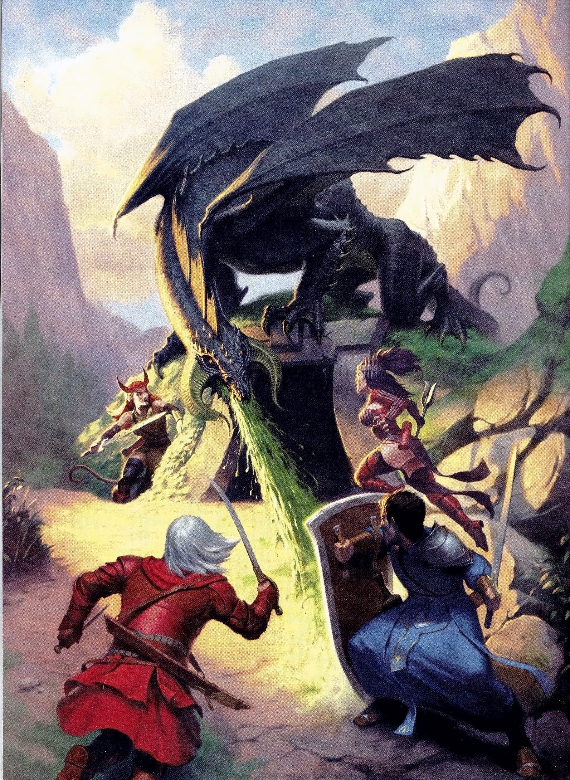 black dragon Tiefling e compagni contro drago nero - by James Ryman Dungeon Magazine #129 (2005-12) © Wizards of the Coast & Hasbro