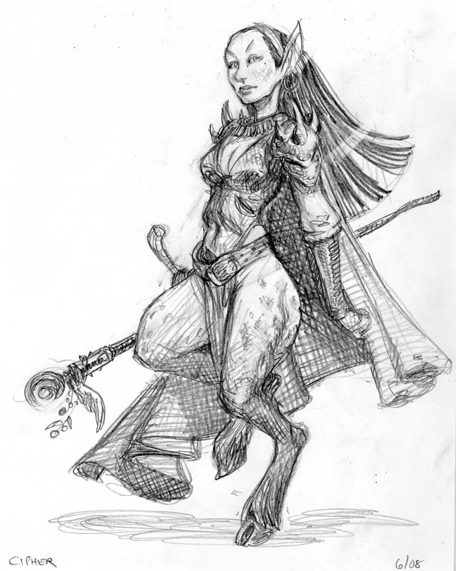 tiefling Uno schizzo recente di Rhys dei cifrati - by Tony Diterlizzi www.diterlizzi.com © Wizards of the Coast & Hasbro
