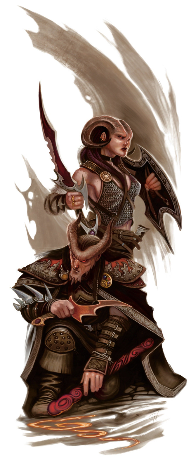 planetouched Tiefling in coppia - by William O'Connor Player's Handbook (2008-06) © Wizards of the Coast & Hasbro