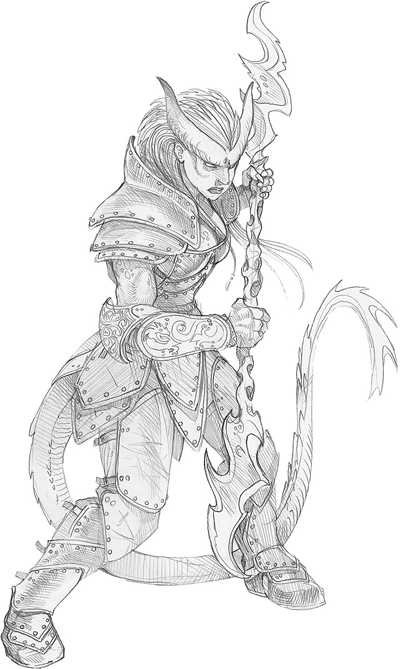 sketch Altra tiefling combattente, schizzo Wizards Present, Races and Classes (2007-12) © Wizards of the Coast & Hasbro