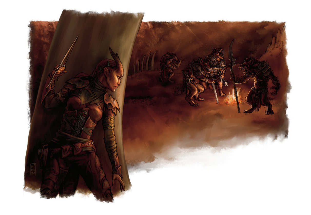 {$tags} Tiefling in agguato e gnoll - by Raven Mimura Player's Handbook (2008-06) © Wizards of the Coast & Hasbro
