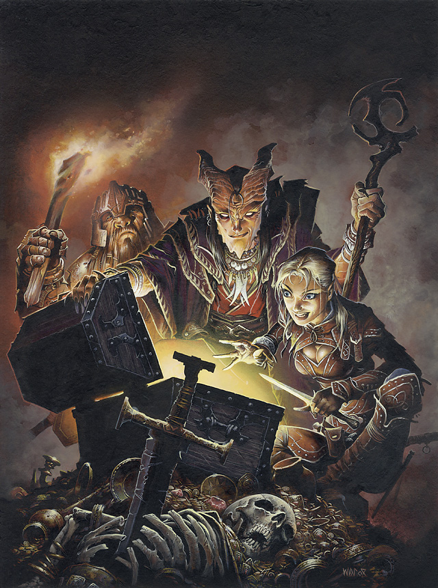 dwarf Tiefling e nano in copertina - by Wayne Reynolds Adventurer's Vault 2 (2009-08) © Wizards of the Coast & Hasbro