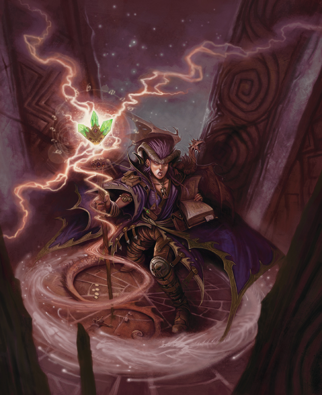 pseudodragon familiar Tiefling con familio pseudodrago in copertina - by William O'Connor Arcane Power (2009-04) © Wizards of the Coast & Hasbro