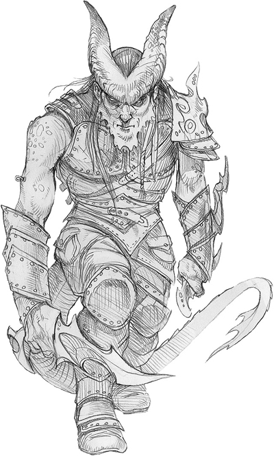 sketch Tiefling ladro, schizzo Wizards Present, Races and Classes (2007-12) © Wizards of the Coast & Hasbro