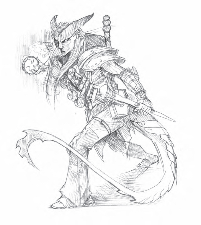sketch Tiefling, schizzo Dragon Magazine #365 (2008-07) © Wizards of the Coast & Hasbro