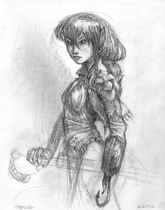 {$tags} Tiefling, schizzo non ufficale - by Tony Diterlizzi www.diterlizzzi.com/blog (2010) © Wizards of the Coast & Hasbro