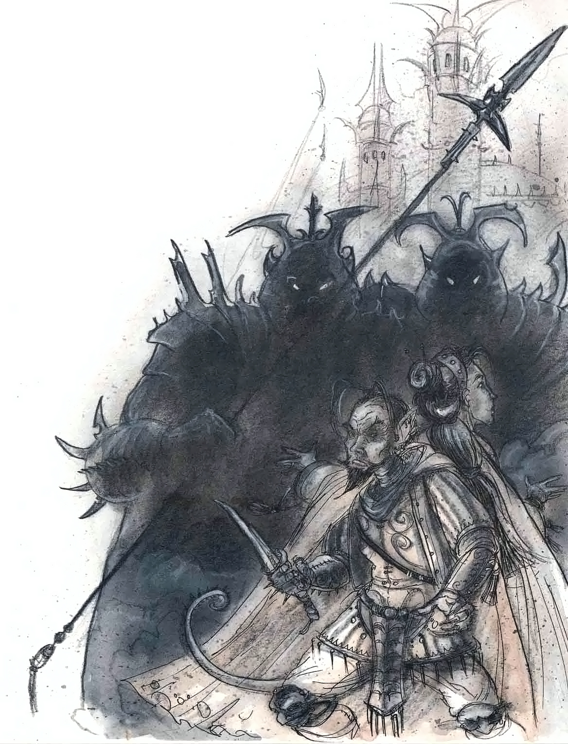 {$tags} Tiefling e compagna circondati da mercykillers - by Tony Diterlizzi TSR - Planescape Campaign Setting (1994-04) © Wizards of the Coast & Hasbro