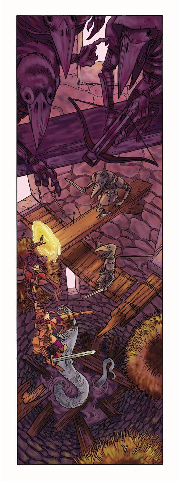 bilge eel Tiefling in una brutta situazione, tra kenku e anguille albine di sentina - by Ramòn Pérez Dungeon Magazine #138 (2006-09) © Wizards of the Coast & Hasbro