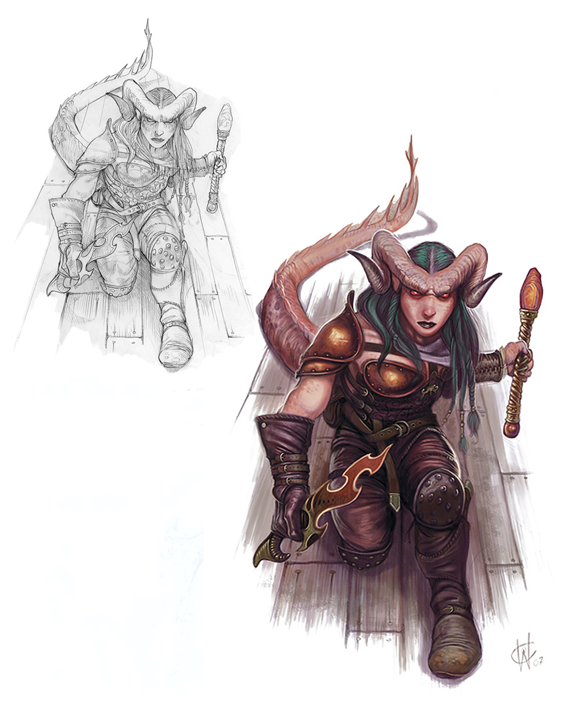 {$tags} Tiefling warlock, schizzo e lavoro ultimato - by William O'Connor Wizards Present, Races and Classes (2007-12) © Wizards of the Coast & Hasbro