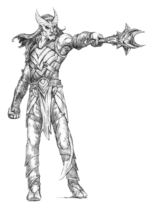 sketch Tiefling warlock, schizzo Wizards Present, Races and Classes (2007-12) © Wizards of the Coast & Hasbro