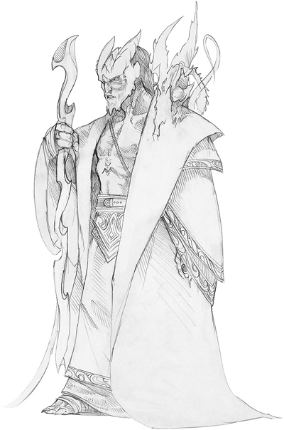 sketch Tiefling mago, schizzo Wizards Present, Races and Classes (2007-12) © Wizards of the Coast & Hasbro