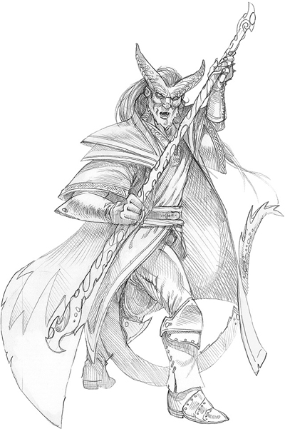 sketch Tiefling mago, schizzo n°2 Wizards Present, Races and Classes (2007-12) © Wizards of the Coast & Hasbro