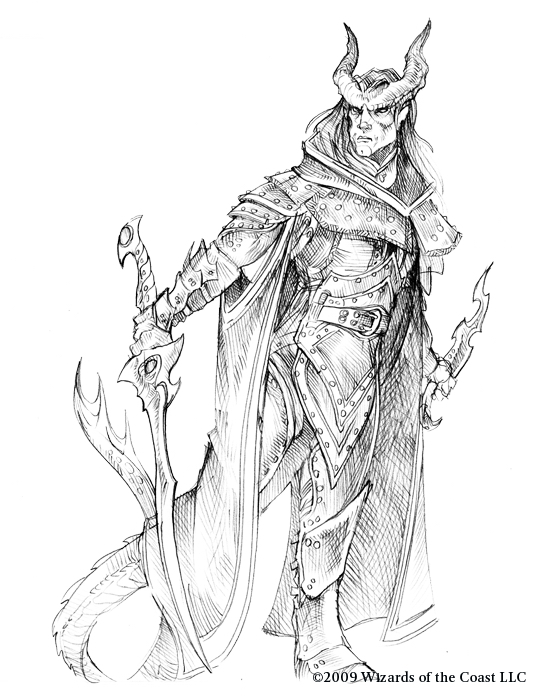 sketch Tiefling guerriero, schizzo Wizards Present, Races and Classes (2007-12) © Wizards of the Coast & Hasbro