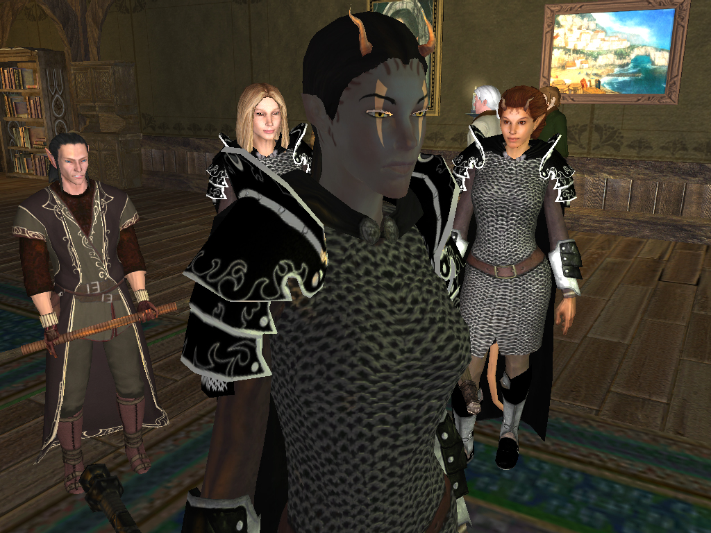 {$tags} Tiefling, Neeshka e pg, screenshot Videogame: Neverwinter Nights 2 (2006-10) © Atari, Wizards of the Coast & Hasbro