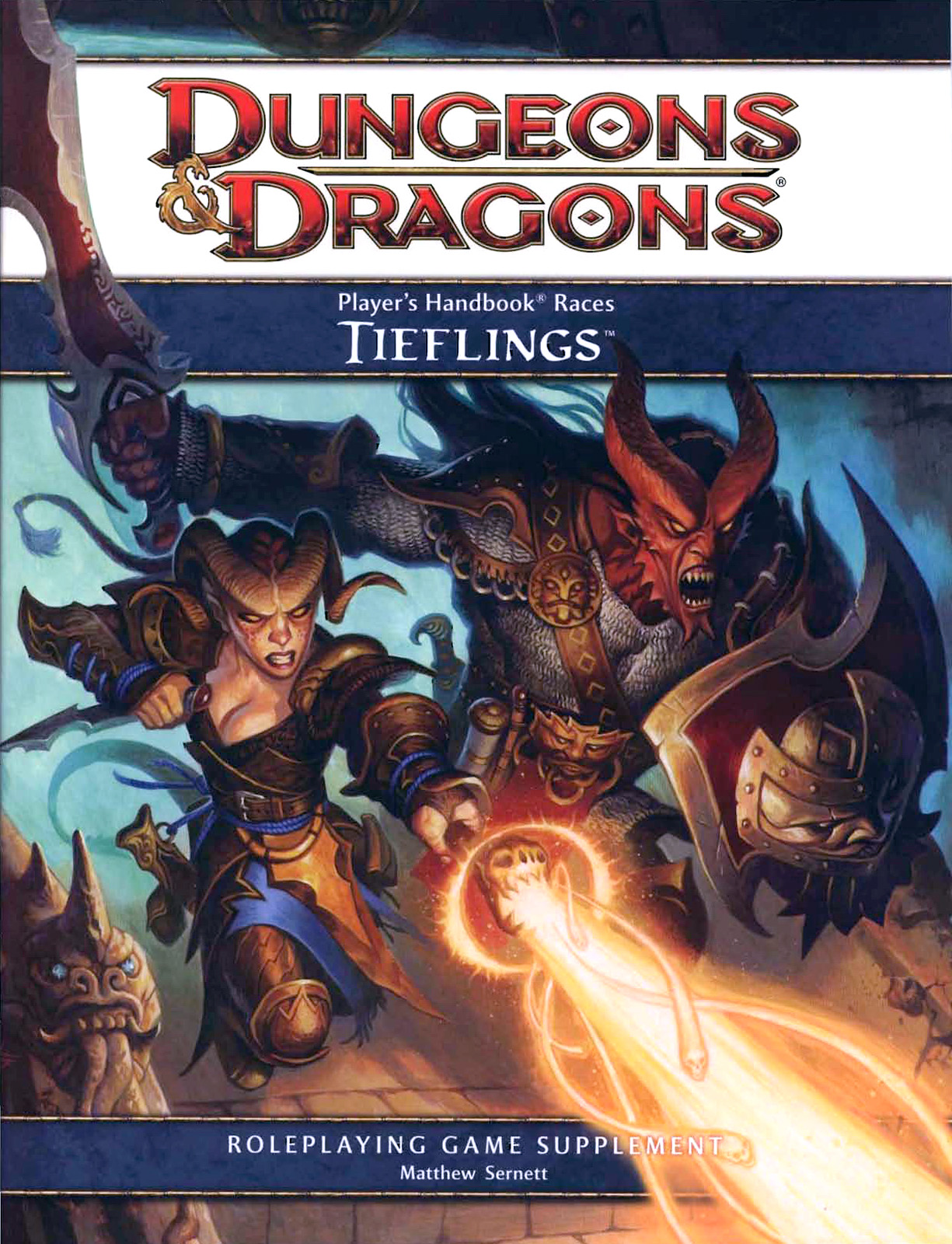{$tags} Tiefling protagonisti, in copertina - by Steve Prescott Player's Handbook Races, Tieflings (2010-06) © Wizards of the Coast & Hasbro
