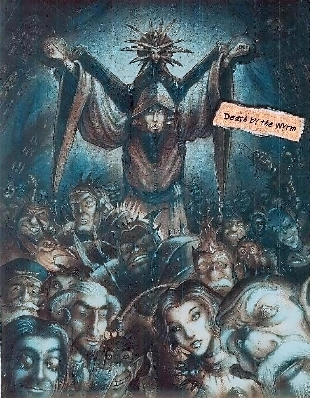 {$tags} Un'esecuzione a Sigil --cibo per il dragone!--.. Nella folla tiefling, bariaur, imp e naturalmente diversi mercykiller - by Tony Diterlizzi TSR - In The Cage, A Guide To Sigil (1995-05) © Wizards of the Coast & Hasbro