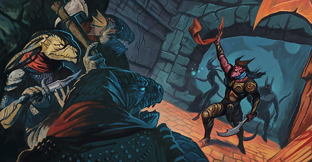 dragonborn Tiefling e dragonidi - by Warren Mahy Vor Rukoth, an Ancient Ruins Adventure Site (2010-07) © Wizards of the Coast & Hasbro