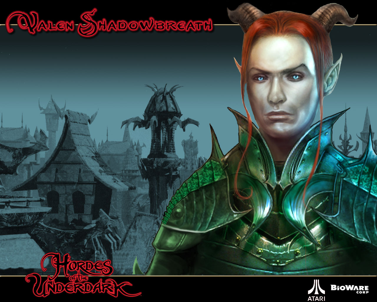 planetouched Valen il tiefling, wallpaper Videogame: Neverwinter Nights, Hordes of the Underdark (2003-12) © Atari, Wizards of the Coast & Hasbro