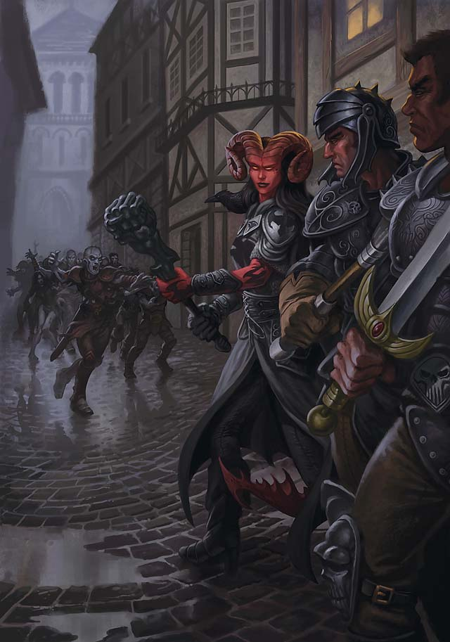{$tags} Tiefling e un'orda di zombi (non pubblicato) - by Jim Nelson Player's Options, Heroes of Shadow (2011-04) © Wizards of the Coast & Hasbro