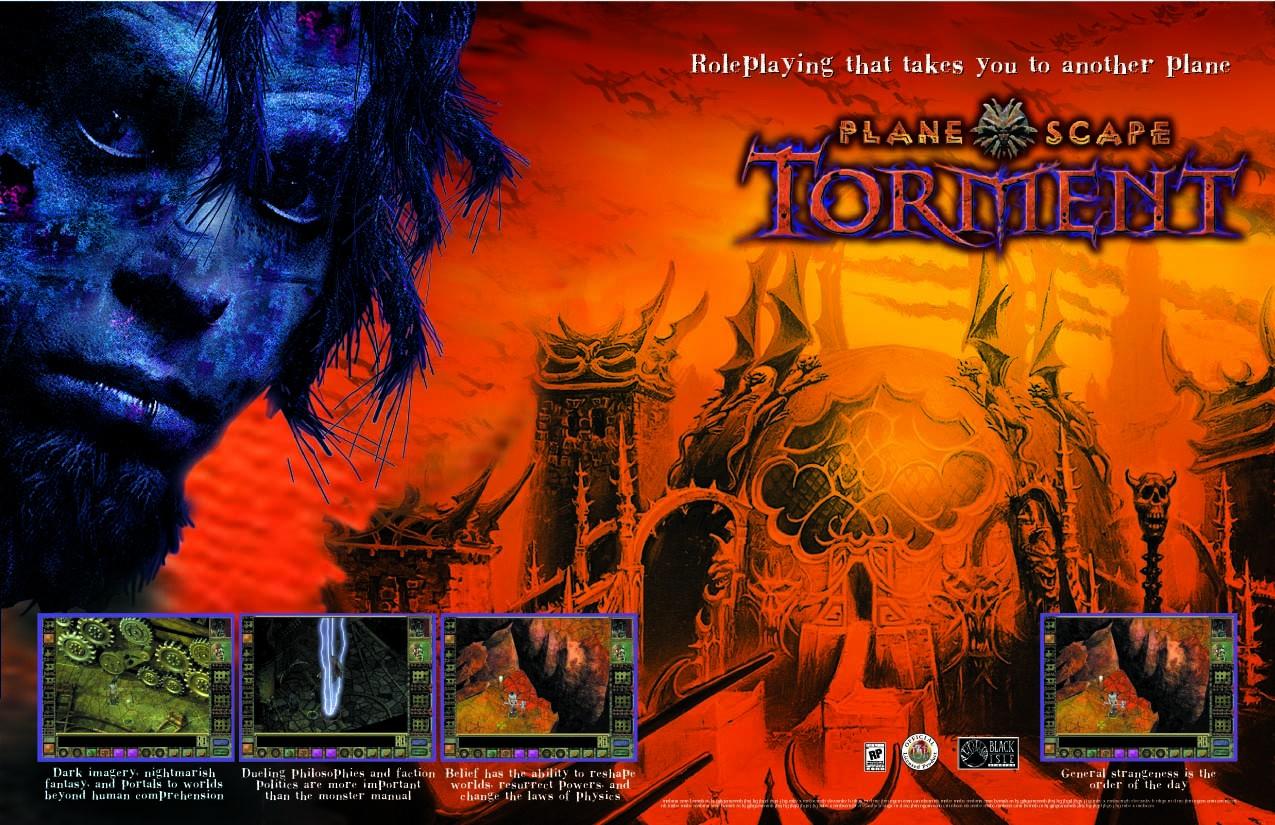 Planescape Torment - Primo concept della copertina del gioco, prima della seduta di trucco di Guido Henkel con Jason Burman (1999)