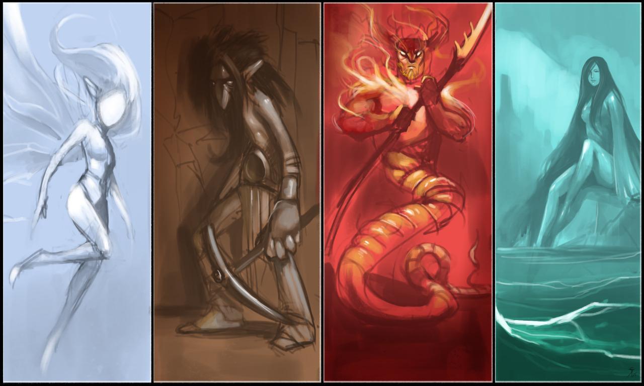 """the-murdellicious #69, 70, 71 e 72: """"Elemental-Kin"""" (Sylph, Pech, Salamander, Nereid) - by Tuomas Salmela themurling.tumblr.com (2015) © dell'autore tutti i diritti riservati"""