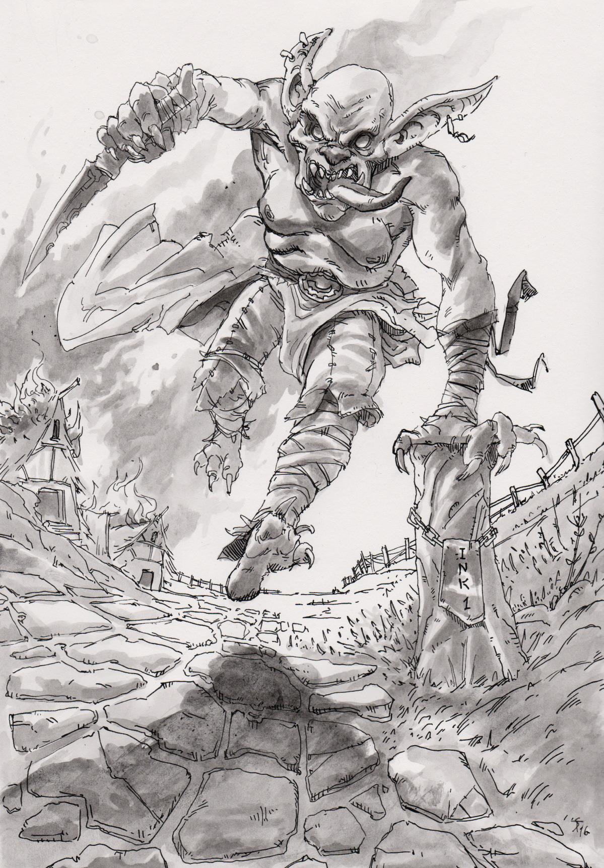 """the-murdellicious Inktober: """"Goblin Attack!"""" - by Tuomas Salmela themurling.tumblr.com (2016) © dell'autore tutti i diritti riservati"""