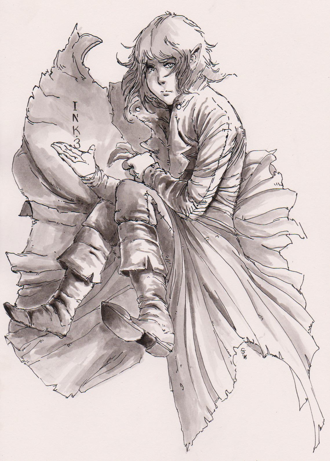 "the-murdellicious Inktober: ""Worldwalker Elf"" - by Tuomas Salmela themurling.tumblr.com (2016) © dell'autore tutti i diritti riservati"