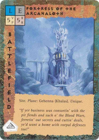 "gehenna ""Fotress of the Arcanaloth"", la fortezza su Khalas - by Dana Knutson TSR - ""Blood Wars"" card game Base Pack (1995) © Wizards of the Coast & Hasbro"