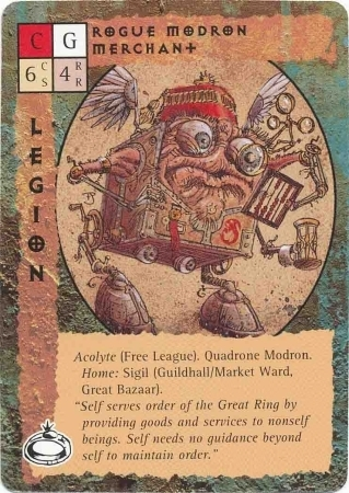 "{$tags} ""Rogue Modron Merchant"", mercante modron rinnegato, indep, con esercizio al Gran Bazaar di Sigil - by Paul Jaquays TSR - ""Blood Wars"" card game Pack 2, Factols & Factions (1995) © Wizards of the Coast & Hasbro"