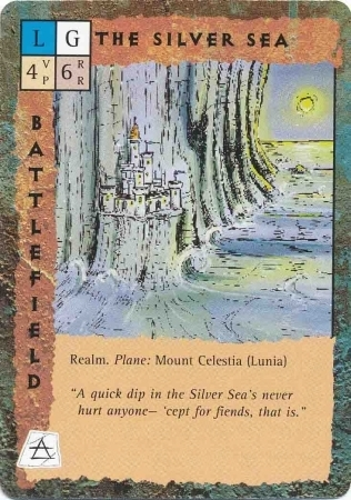 "mount celestia ""The Silver Sea"" - by Rob Lazzaretti TSR - ""Blood Wars"" card game Base Pack (1995) © Wizards of the Coast & Hasbro"