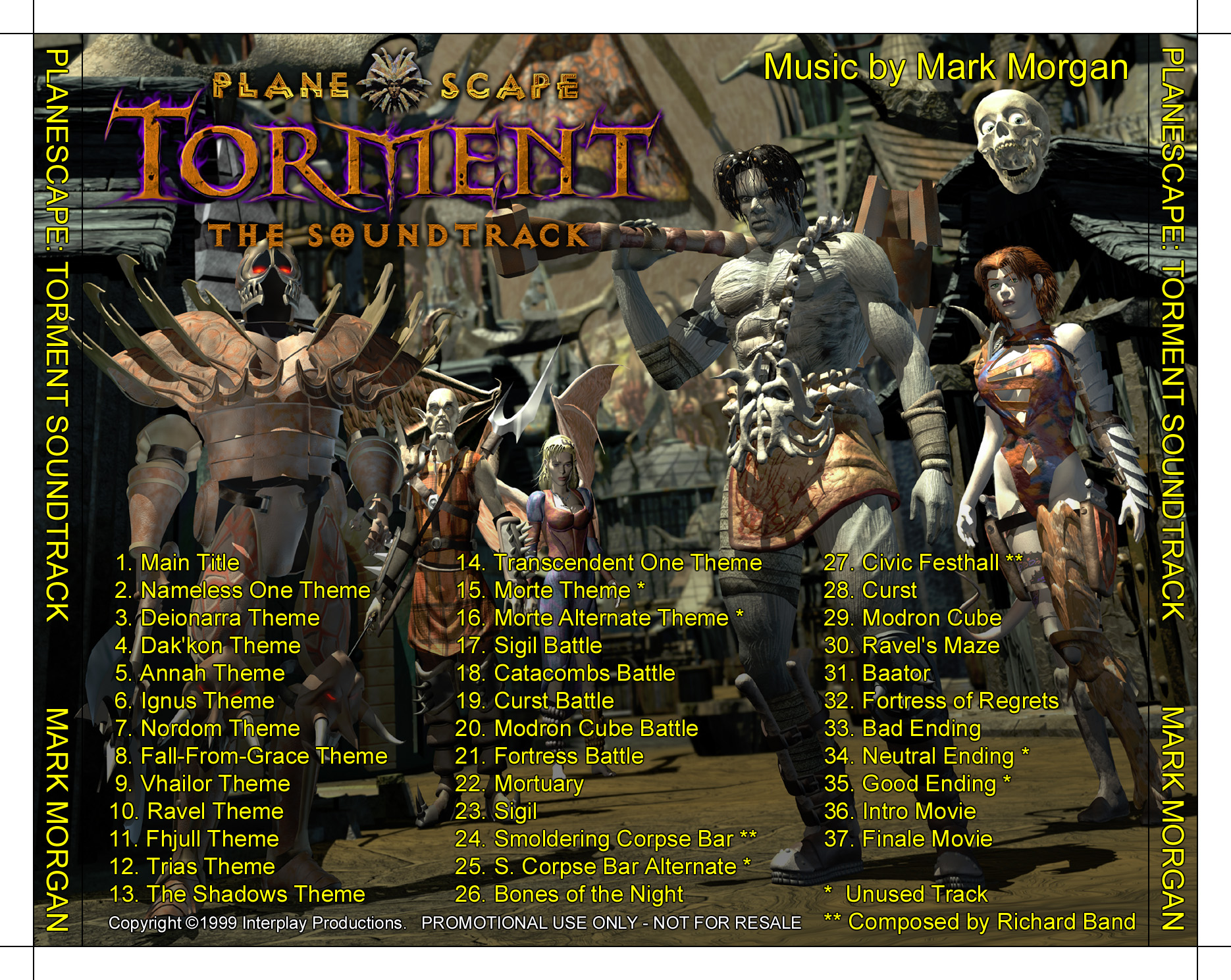 torment music track Planescape: Torment Soundtrack, retro cover Planescape: Torment (1999) © Mark Morgan, Interplay Inc. e Black Isle Studios