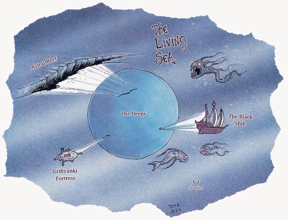 the living sea map Schema del Mare Vivente A Guide to the Astral Plane (1996-10) © Wizards of the Coast & Hasbro
