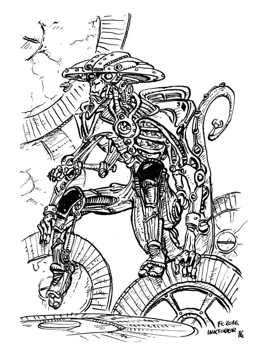 """clone-artist vulpinal """"Qunton"""" modron (doodle #16 per Inktober) - by clone-artist (Filip C.) clone-artist.deviantart.com (2016-10) © dell'autore tutti i diritti riservati"""