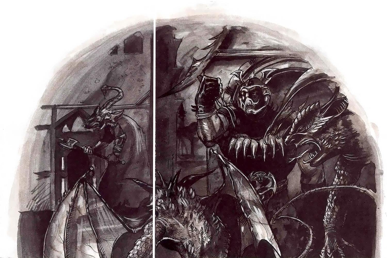 cornugon molydeus mercykiller in sigil Un Giustiziere pensa bene di lasciare che il Molydeus se la scorni con due Cornugon, prima di amministrare la giustizia... - by Adam Rex TSR - Hellbound the Blood War (1996-06) © Wizards of the Coast & Hasbro